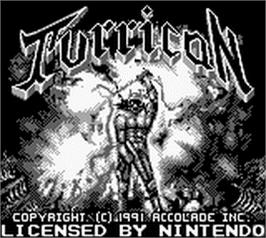 Title screen of Turrican on the Nintendo Game Boy.