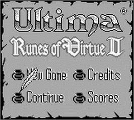 Title screen of Ultima: Runes of Virtue 2 on the Nintendo Game Boy.