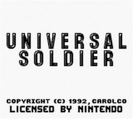 Title screen of Universal Soldier on the Nintendo Game Boy.