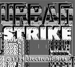 Title screen of Urban Strike on the Nintendo Game Boy.