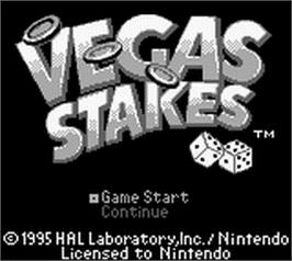 Title screen of Vegas Stakes on the Nintendo Game Boy.