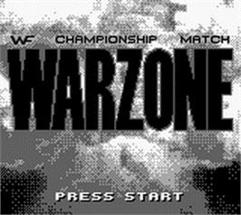 Title screen of WWF War Zone on the Nintendo Game Boy.