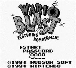 Title screen of Wario Blast Featuring Bomberman on the Nintendo Game Boy.