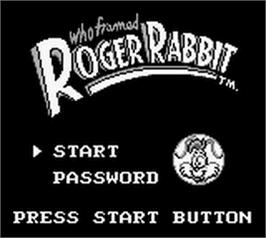 Title screen of Who Framed Roger Rabbit on the Nintendo Game Boy.