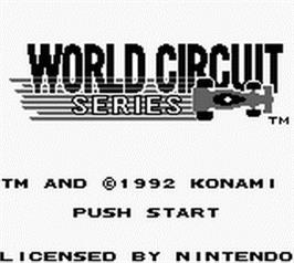 Title screen of World Circuit Series on the Nintendo Game Boy.