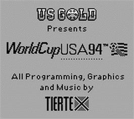 Title screen of World Cup USA '94 on the Nintendo Game Boy.