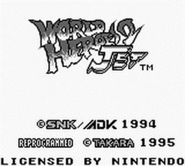 Title screen of World Heroes II Jet on the Nintendo Game Boy.