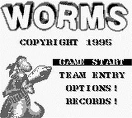 Title screen of Worms on the Nintendo Game Boy.