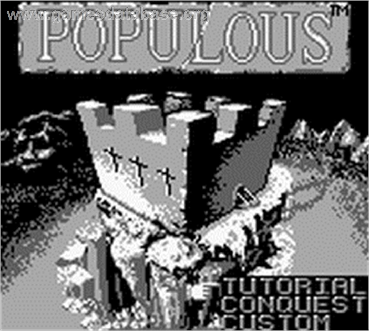 Title screen of Populous on the Nintendo Game Boy.