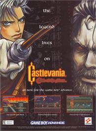 Advert for Castlevania: Circle of the Moon on the Nintendo Game Boy Advance.