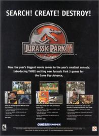 Advert for Jurassic Park III: The DNA Factor on the Nintendo Game Boy Advance.