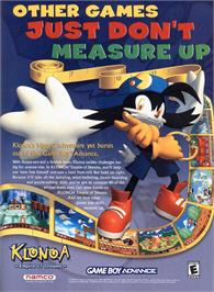 Advert for Klonoa: Empire of Dreams on the Nintendo Game Boy Advance.