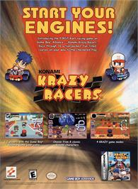 Advert for Konami Krazy Racers on the Nintendo Game Boy Advance.