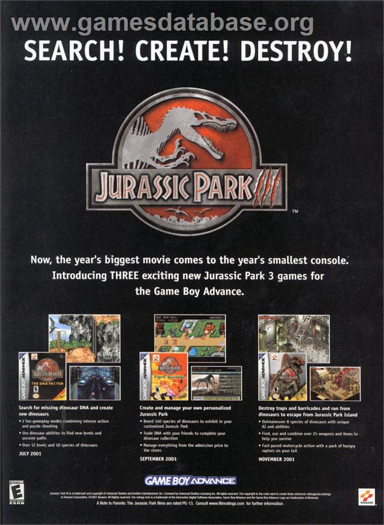 Jurassic Park III: Island Attack - Nintendo Game Boy Advance