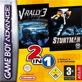 Box cover for 2 in 1: V-Rally 3 & Stuntman on the Nintendo Game Boy Advance.