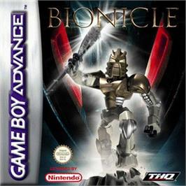 Box cover for Bionicle Heroes on the Nintendo Game Boy Advance.