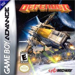 Box cover for Defender on the Nintendo Game Boy Advance.