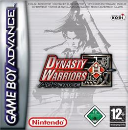 Box cover for Dynasty Warriors Advance on the Nintendo Game Boy Advance.