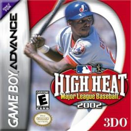 Box cover for High Heat Major League Baseball 2002 on the Nintendo Game Boy Advance.