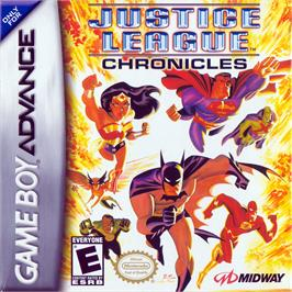 Box cover for Justice League: Chronicles on the Nintendo Game Boy Advance.