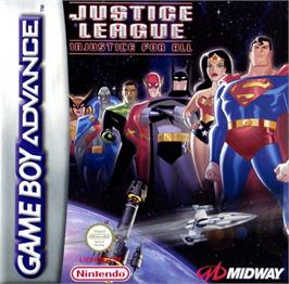 Box cover for Justice League: Injustice for All on the Nintendo Game Boy Advance.