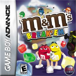 Box cover for M&M's Break' Em on the Nintendo Game Boy Advance.