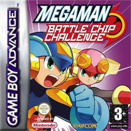 Box cover for Mega Man Battle Chip Challenge on the Nintendo Game Boy Advance.