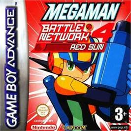 Box cover for Mega Man Battle Network 4: Red Sun on the Nintendo Game Boy Advance.