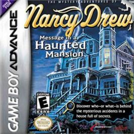 Box cover for Nancy Drew: Message in a Haunted Mansion on the Nintendo Game Boy Advance.