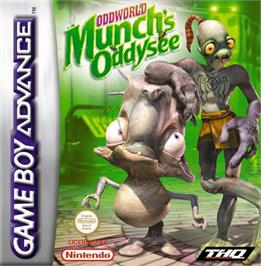 Box cover for Oddworld: Munch's Oddysee on the Nintendo Game Boy Advance.