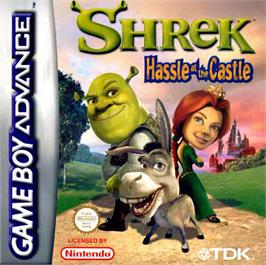 Box cover for Shrek: Hassle at the Castle on the Nintendo Game Boy Advance.