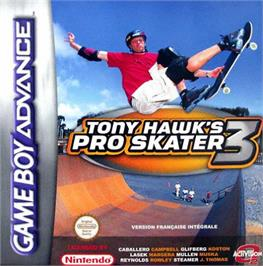 Box cover for Tony Hawk's Pro Skater 3 on the Nintendo Game Boy Advance.