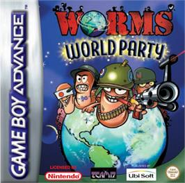 Box cover for Worms World Party on the Nintendo Game Boy Advance.