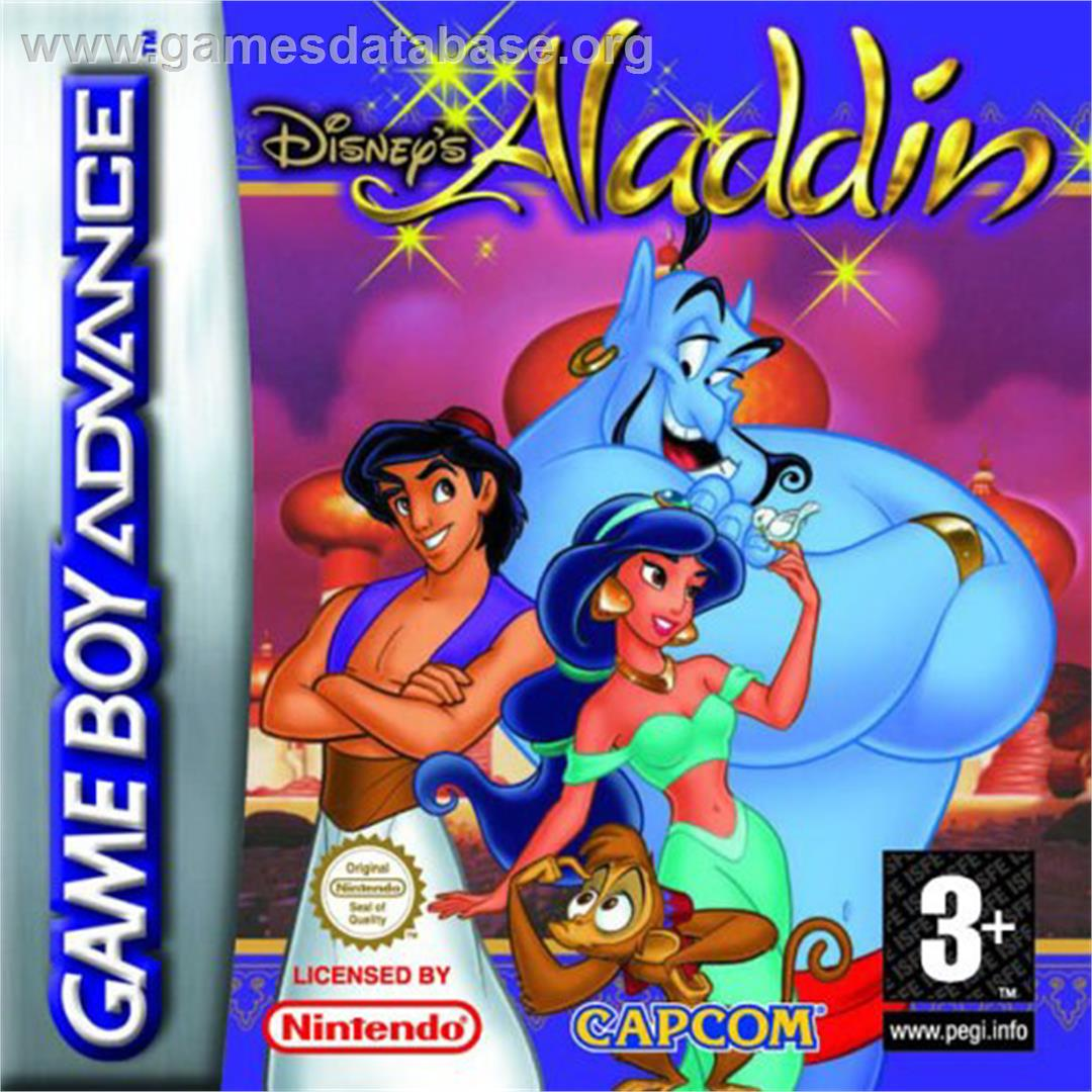 Box cover for Aladdin on the Nintendo Game Boy Advance.