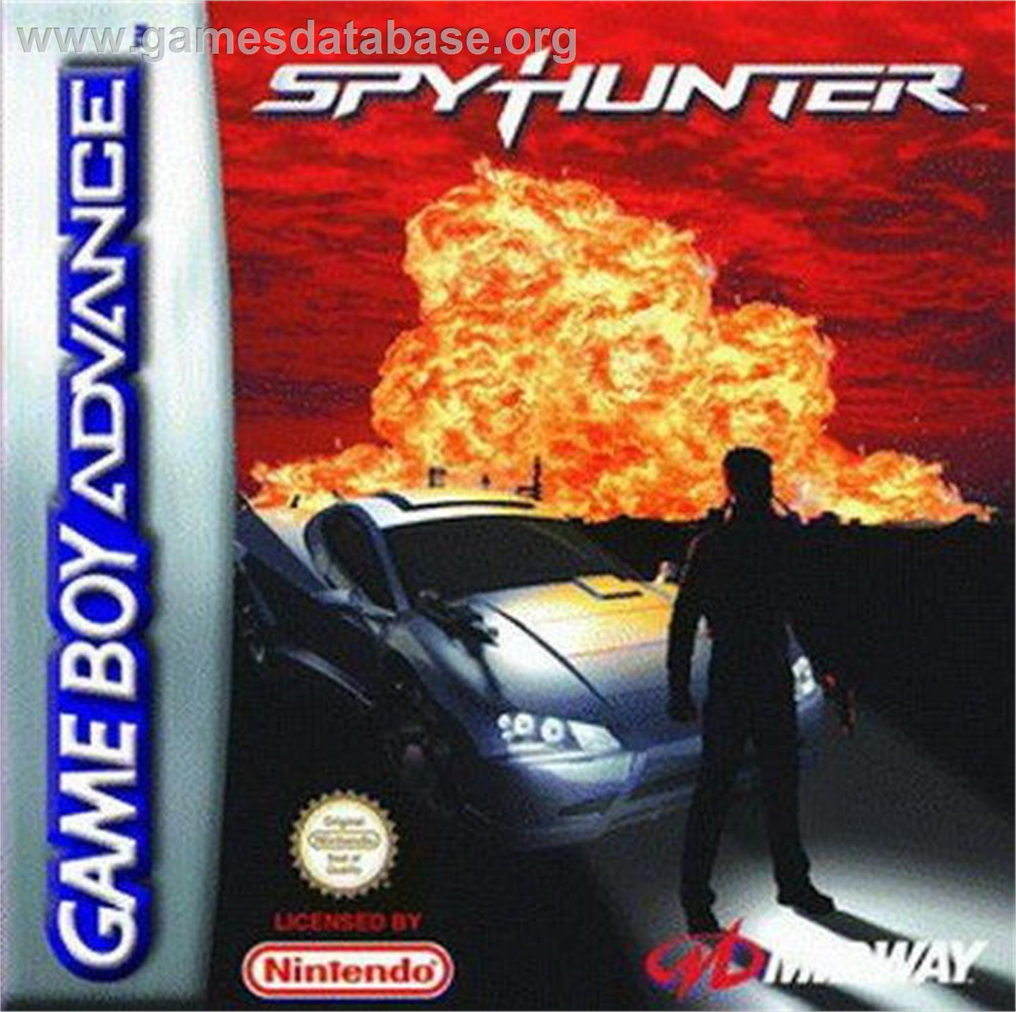 Box cover for Spy Hunter on the Nintendo Game Boy Advance.