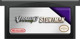 Cartridge artwork for 2 in 1: V-Rally 3 & Stuntman on the Nintendo Game Boy Advance.