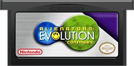 Cartridge artwork for Alienators: Evolution Continues on the Nintendo Game Boy Advance.