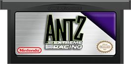Cartridge artwork for Antz Extreme Racing on the Nintendo Game Boy Advance.