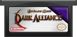 Cartridge artwork for Baldur's Gate: Dark Alliance on the Nintendo Game Boy Advance.