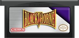 Cartridge artwork for Blackthorne on the Nintendo Game Boy Advance.
