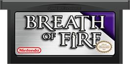 Cartridge artwork for Breath of Fire on the Nintendo Game Boy Advance.