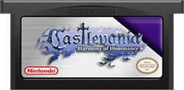 Cartridge artwork for Castlevania: Harmony of Dissonance on the Nintendo Game Boy Advance.