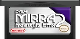 Cartridge artwork for Dave Mirra Freestyle BMX 2 on the Nintendo Game Boy Advance.