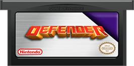 Cartridge artwork for Defender on the Nintendo Game Boy Advance.
