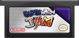 Cartridge artwork for Earthworm Jim on the Nintendo Game Boy Advance.