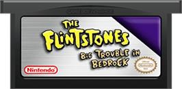 Cartridge artwork for Flintstones: Big Trouble in Bedrock on the Nintendo Game Boy Advance.