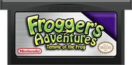 Cartridge artwork for Frogger's Adventures: Temple of the Frog on the Nintendo Game Boy Advance.