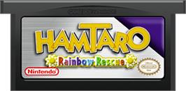 Cartridge artwork for Hamtaro Rainbow Rescue on the Nintendo Game Boy Advance.