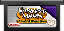 Cartridge artwork for Harvest Moon: Friends of Mineral Town on the Nintendo Game Boy Advance.