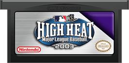 Cartridge artwork for High Heat Major League Baseball 2003 on the Nintendo Game Boy Advance.